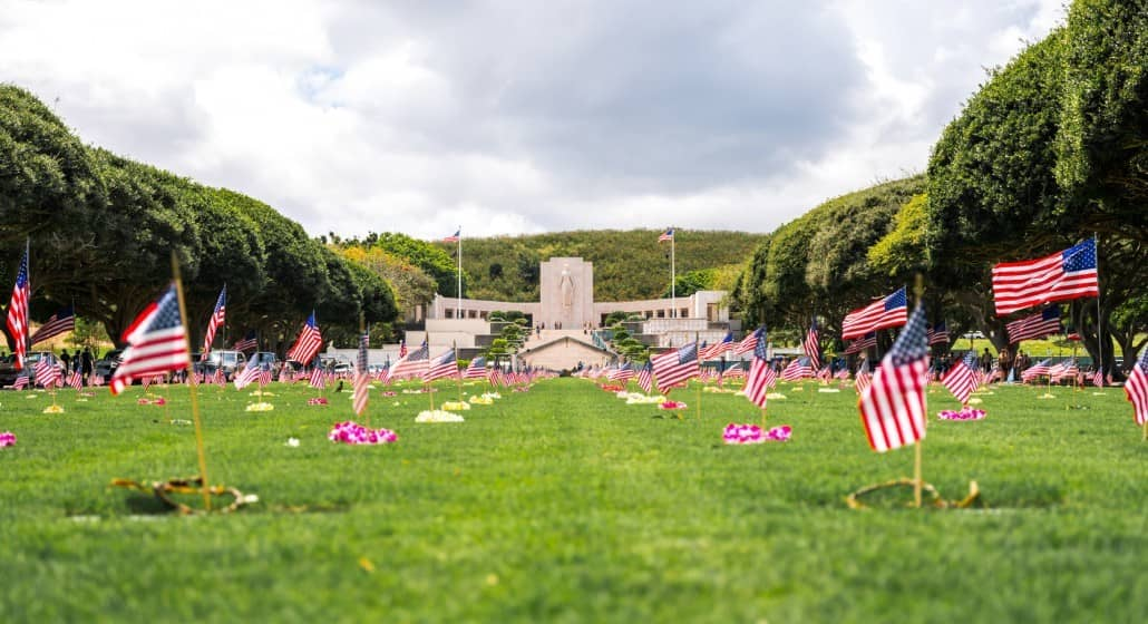 American Flags At Punchbowl