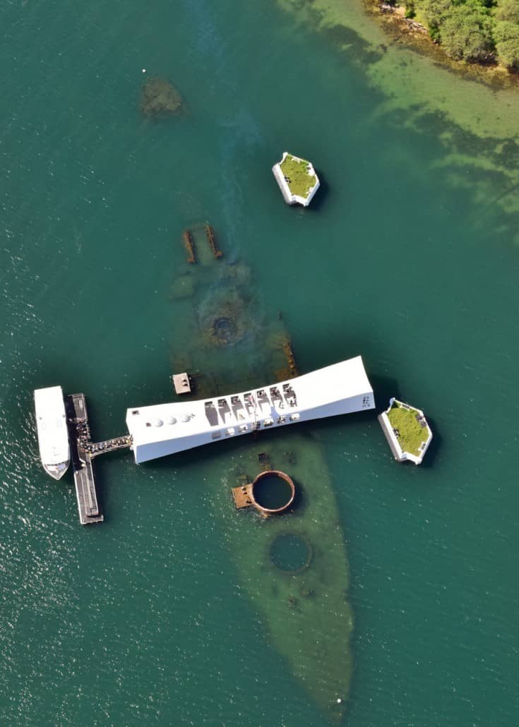 USS Arizona Memorial of Pearl Harbor Attack From Above