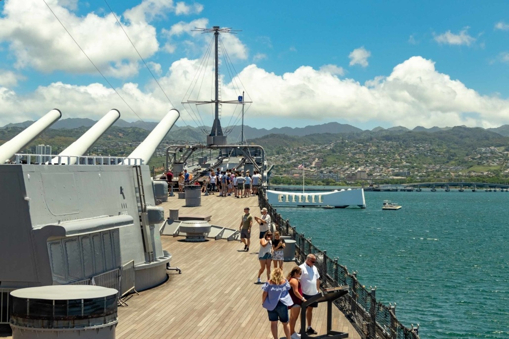USS Missouri Deck visitors Guns and Arizona Memorial Pearl Harbor Oahu