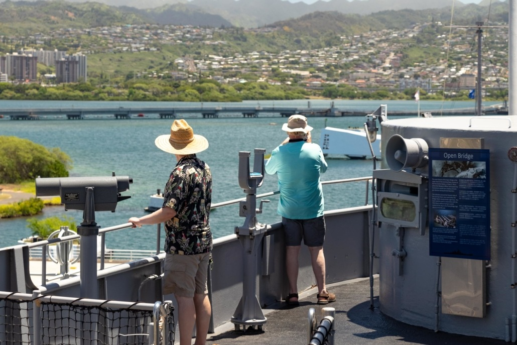 USS Missouri Pearl Guests on Top Deck Harbor Oahu