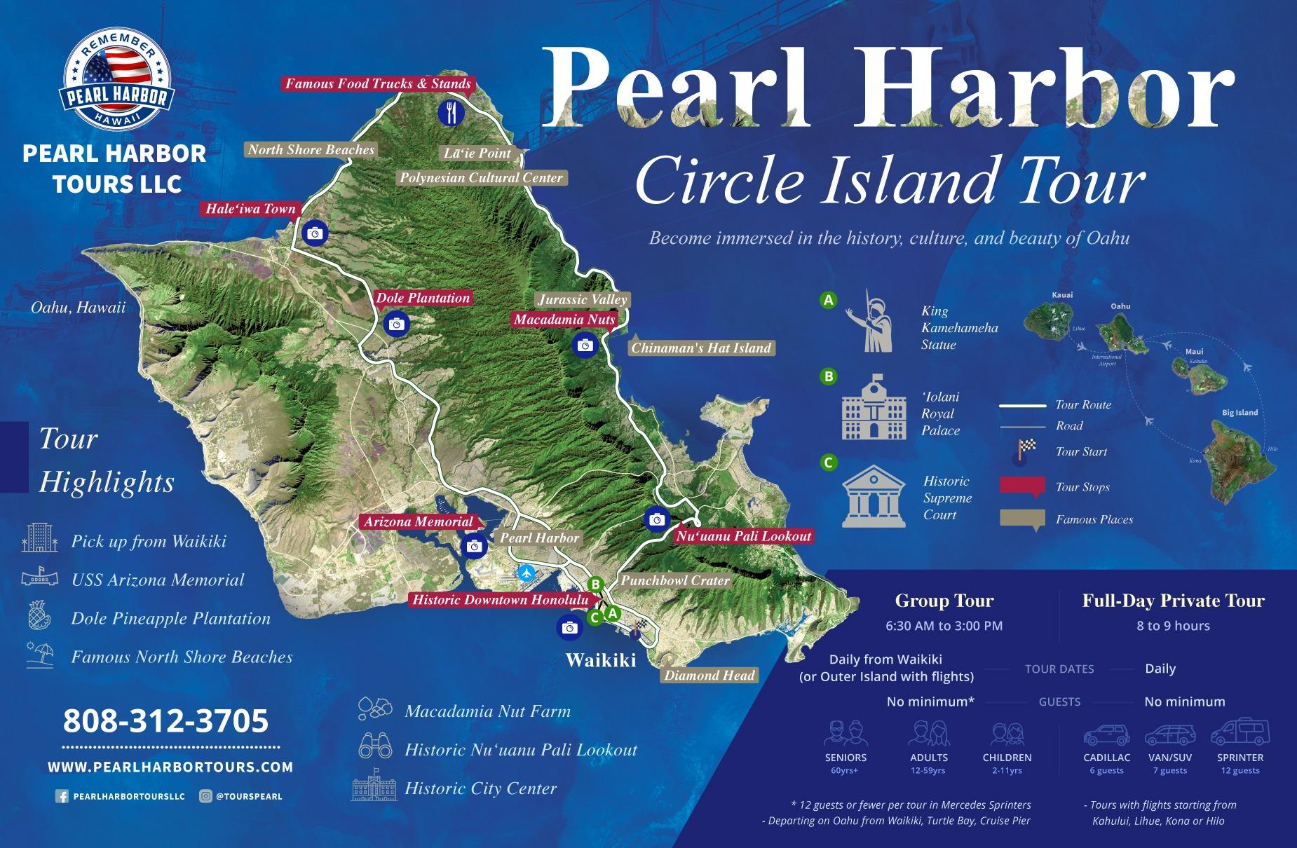 Oahu Pearl Harbor Circle Island Map