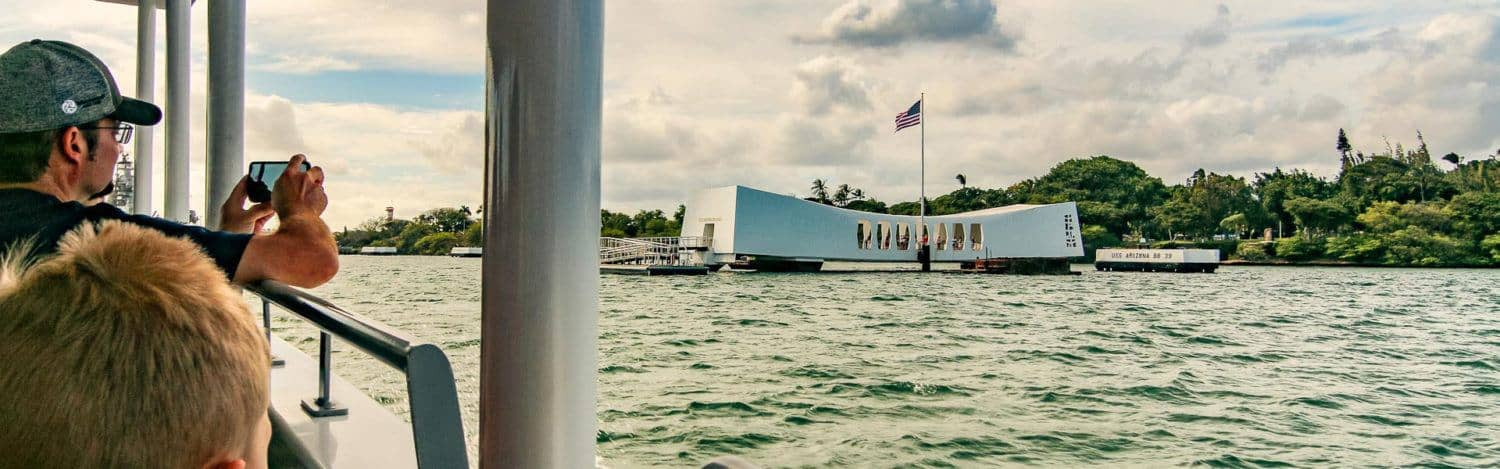 People on USS Arizona Memorial Boat