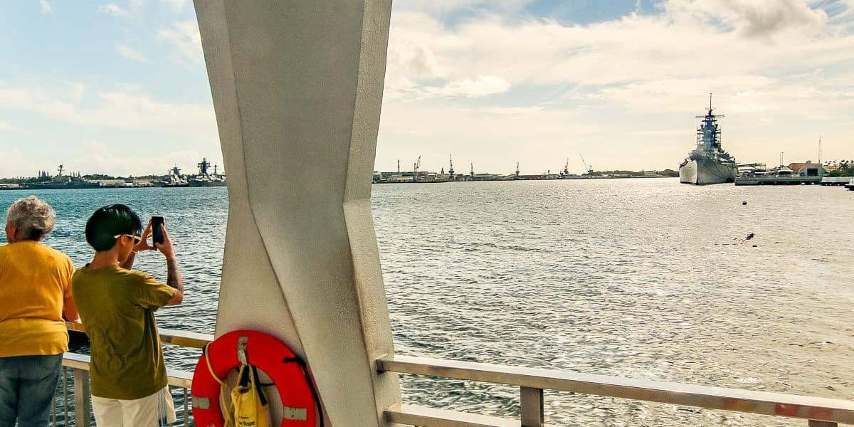 View of Missouri Battleship from USS Arizona Memorial