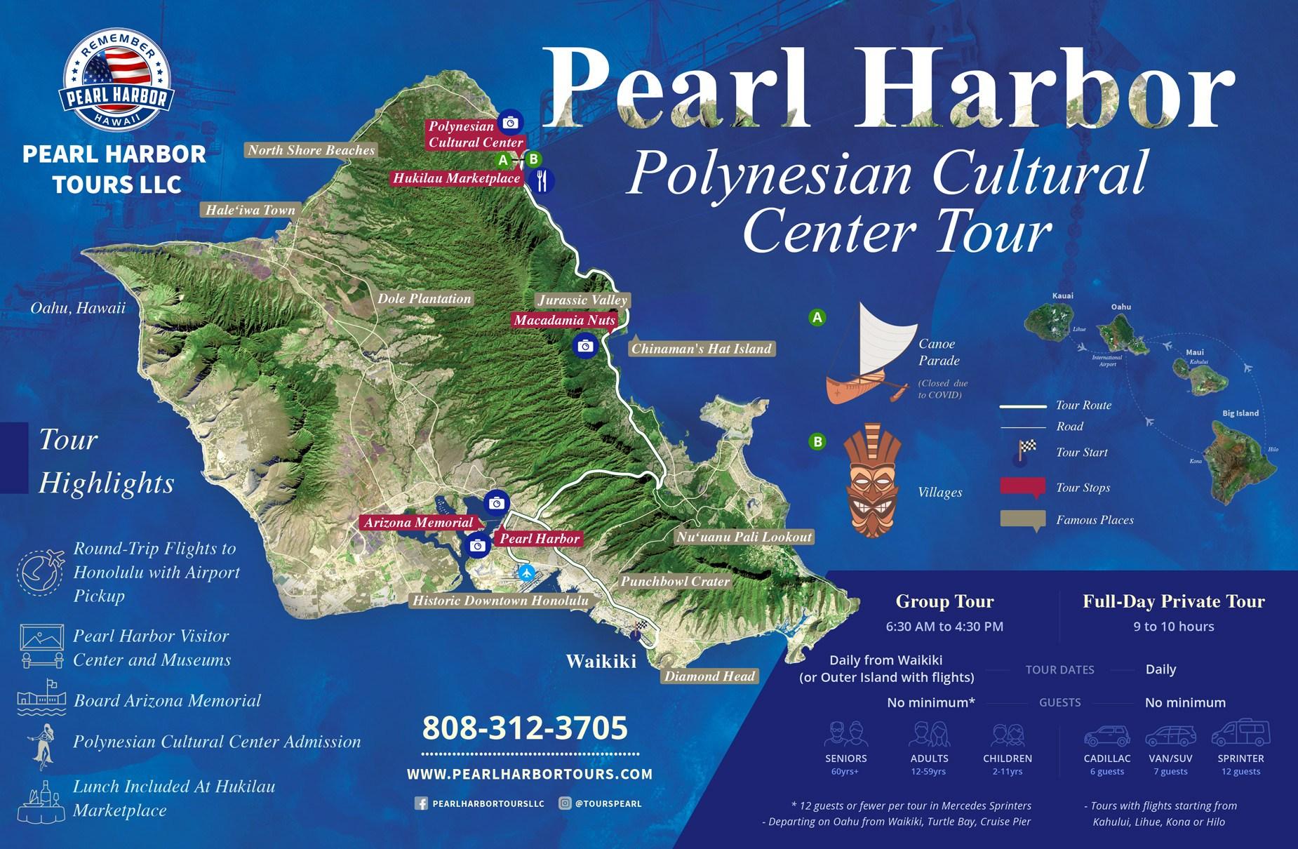 Oahu Pearl Harbor Polynesian Cultural Center Map Tour