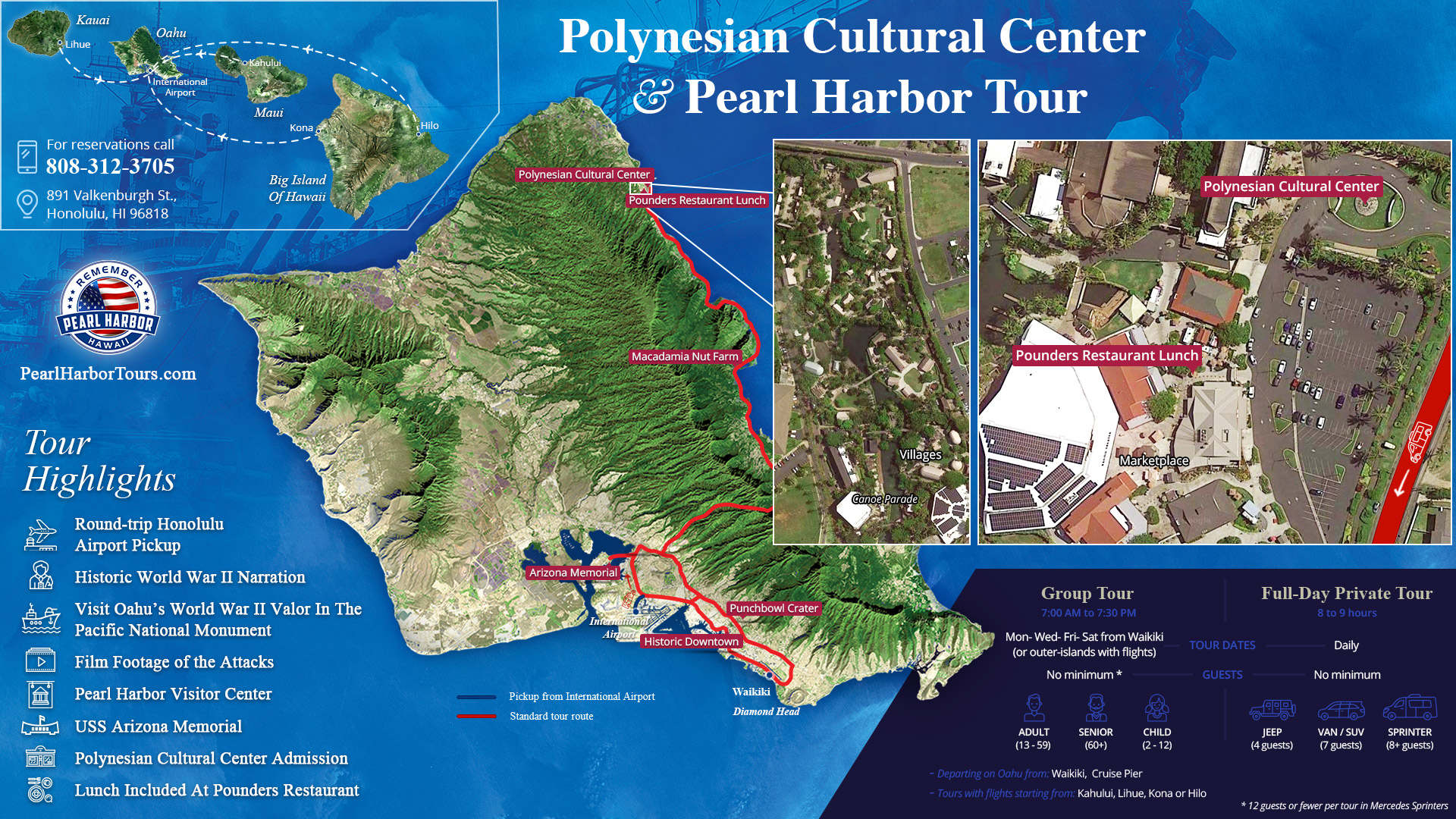 Polynesian Cultural Center and Pearl Harbor Tour Map