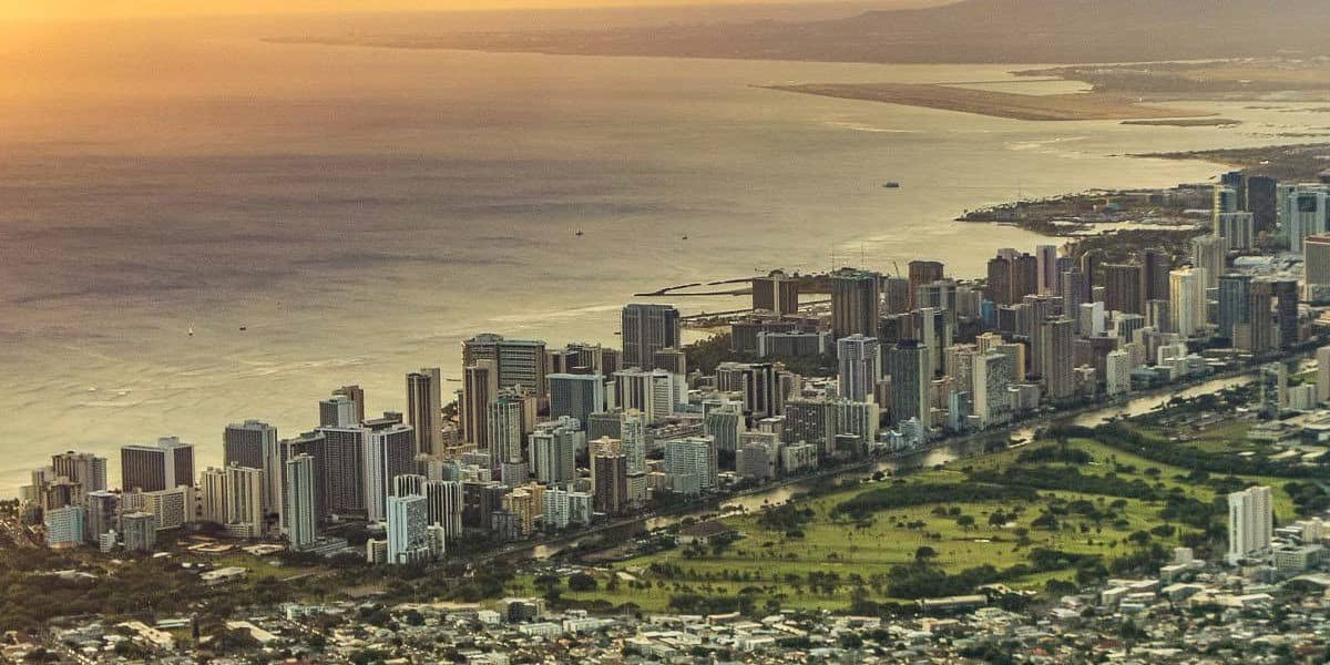 Sunset over Waikiki and Honolulu City