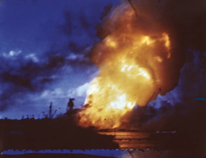 USS Arizona On Fire During Japan Attack On Pearl Harbor