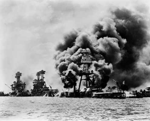 Three Stricken Battleships USS West Virgina, USS Tennessee, USS Arizona