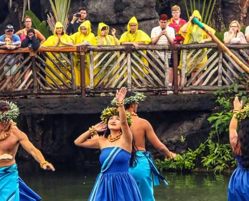 Hula Dancers in Blue dress at Polynesian Cultural Center