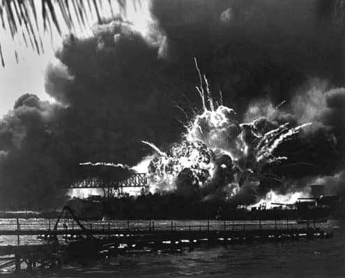 USS Shaw Forward Magazine Exploding During Attack On Pearl Harbor