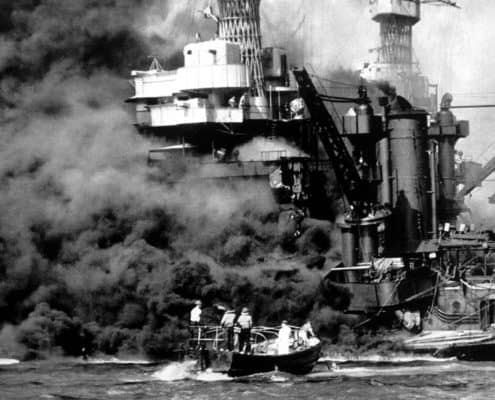 USS West Virginia On Fire