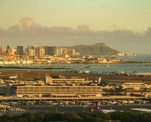Airport Overview With Diamond Head Background