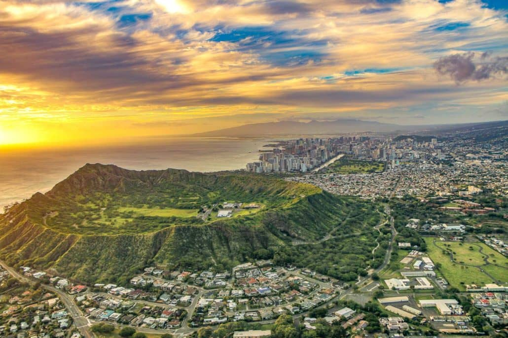Helicopter View of Diamond Head Sunset with Clouds over Crater