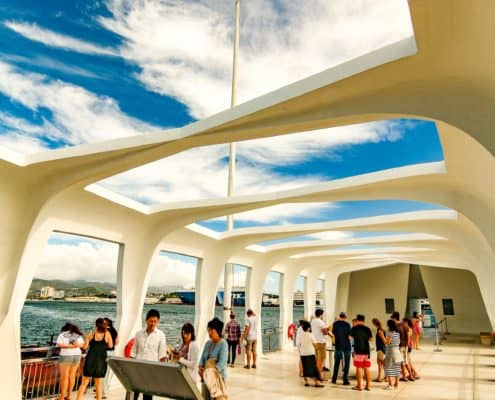 Inside Arizona Memorial See US Flag Fly Through Ceiling Window