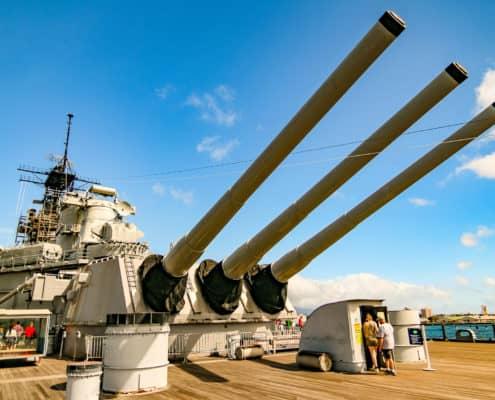 Rear Guns On Missouri Battleship
