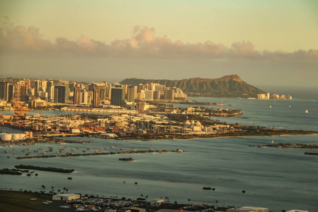 Honolulu Harbor With Waikiki and Diamond head In Distance