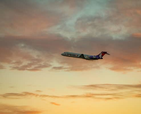Hawaiian Airlines Plane at Sunset on Oahu