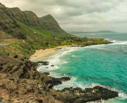 Coastal Highway On Oahu With Beaches