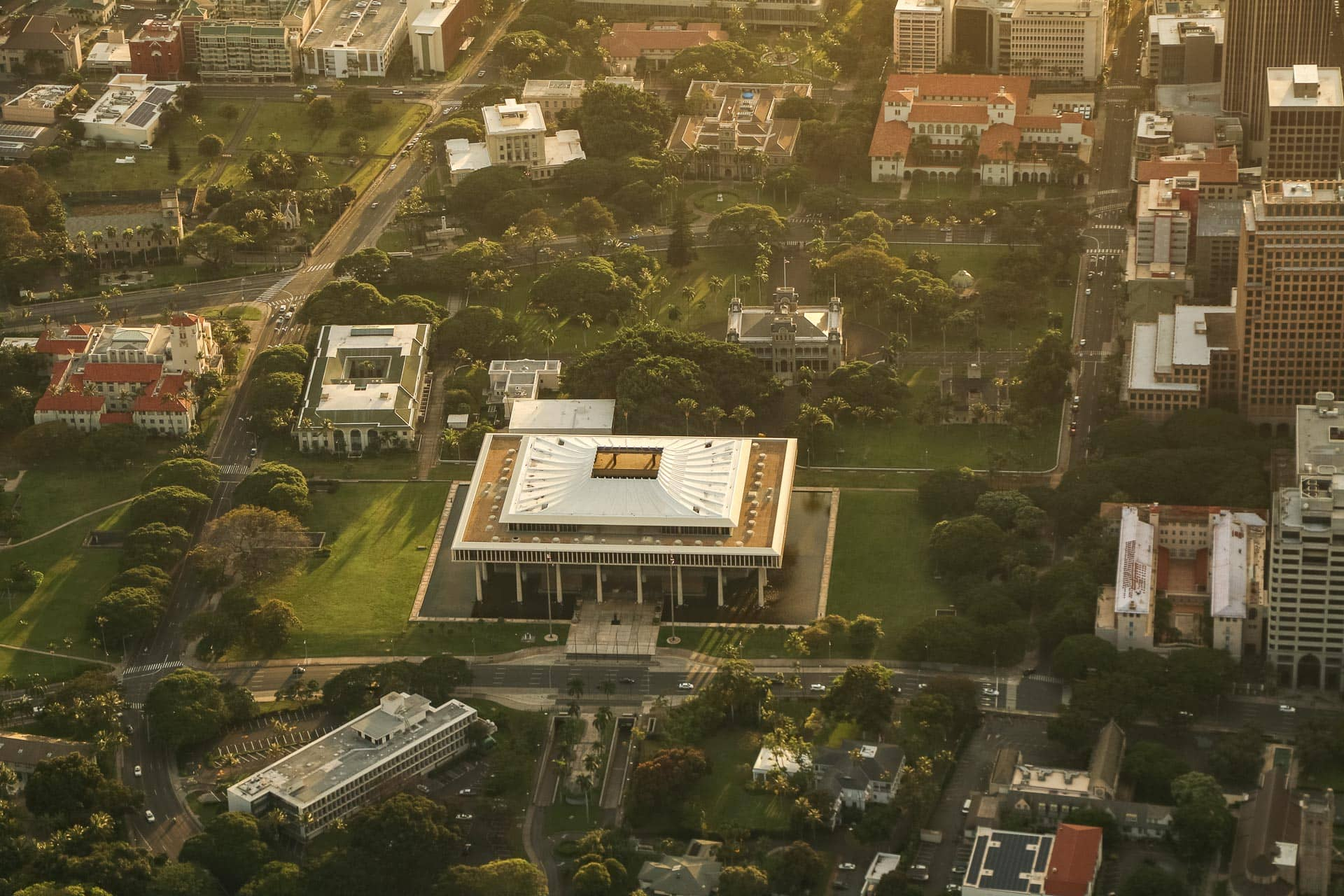 Historic Honolulu State House aerial