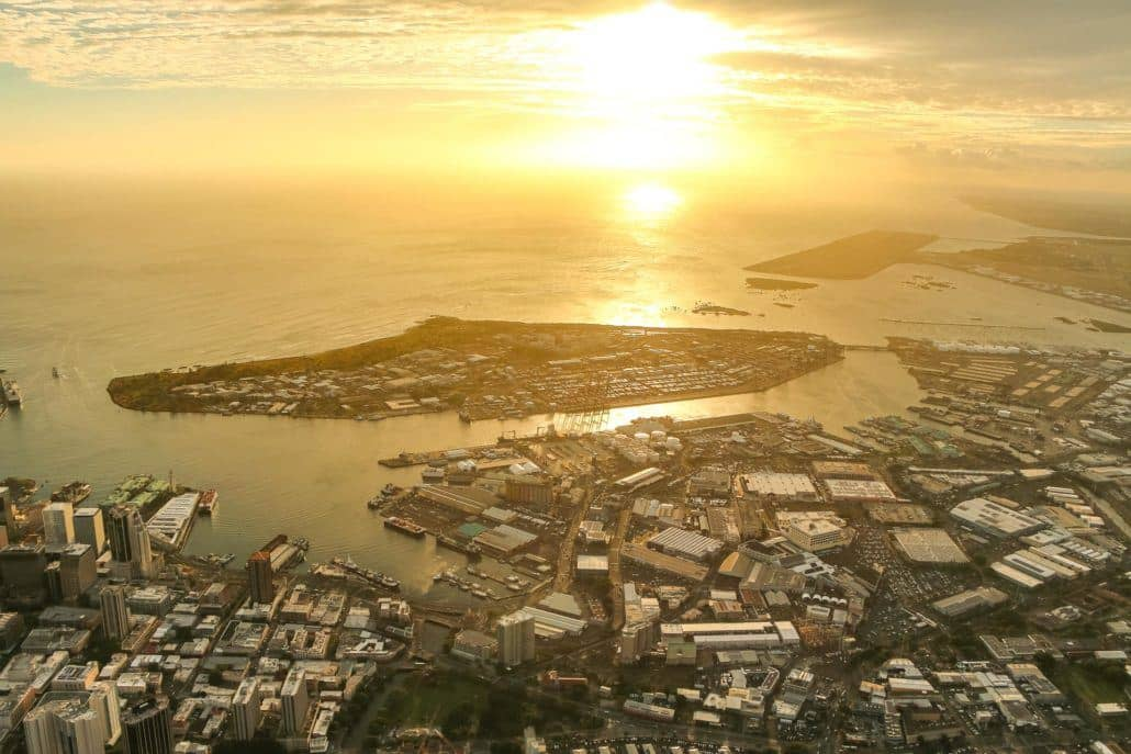 Honolulu Harbor Sunset From the Air aerial