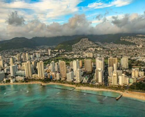 High Rise Hotels on Waikiki Beach with Reef and Ocean