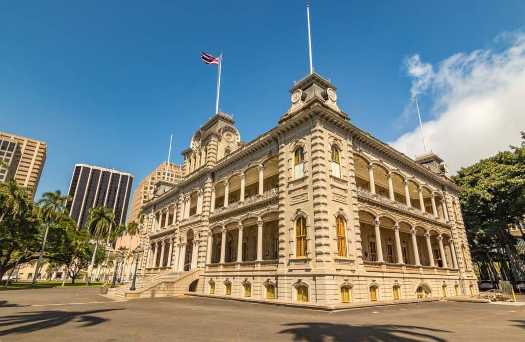Iolani Palace Building Honolulu Corner View