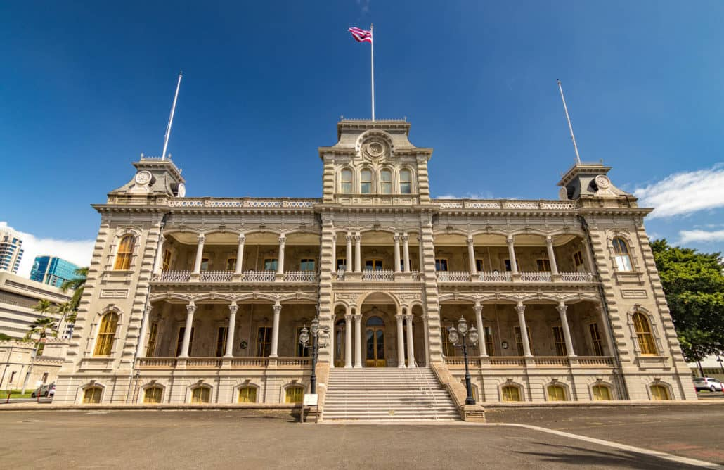 Iolani Palace Front with Steps and Flag