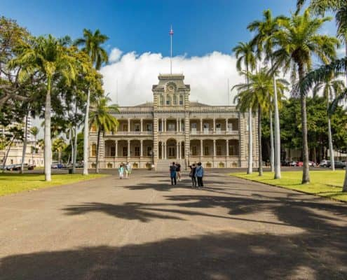 Iolani Palace Entrance at Front