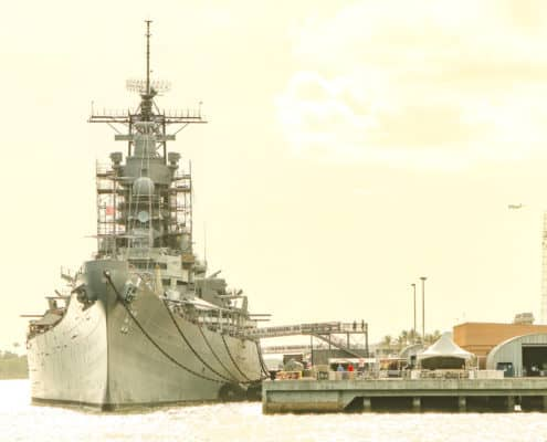 USS Missouri Battleship at Pier