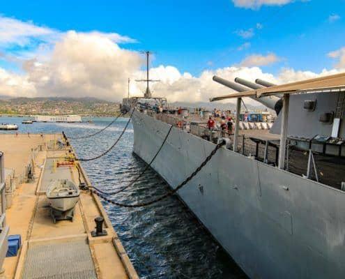 USS Missouri Guns Pointed over Arizona Memorial