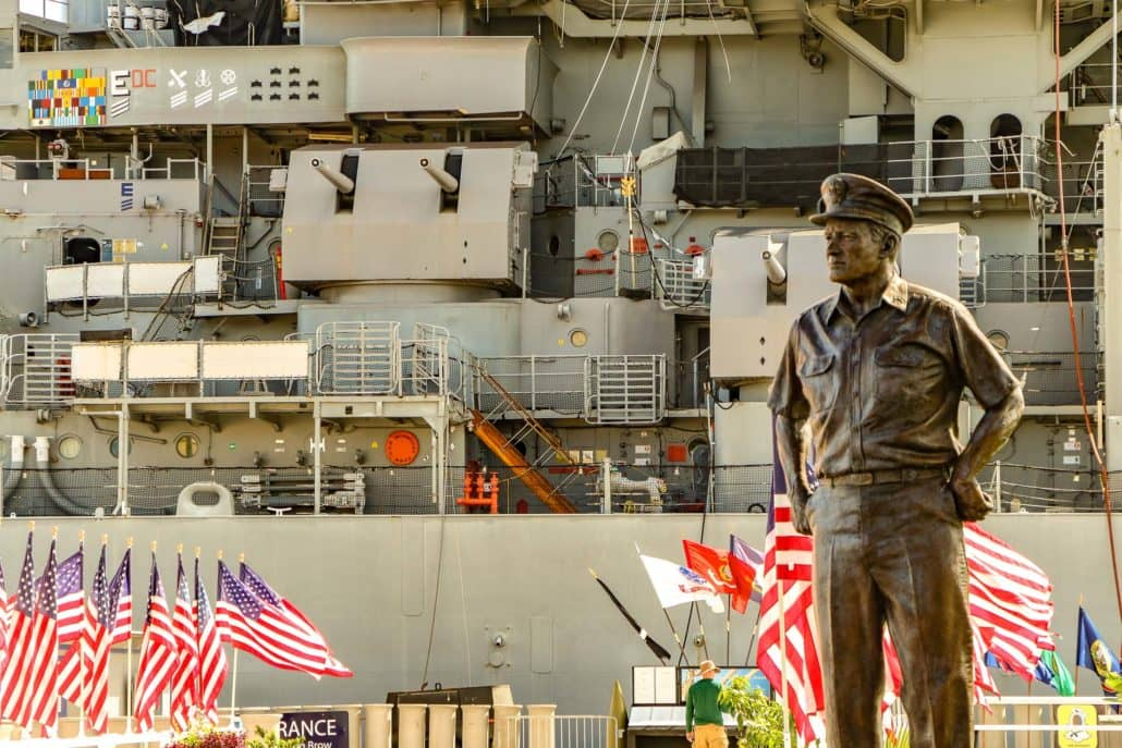 Statue of Nimitz in Front of USS Missouri
