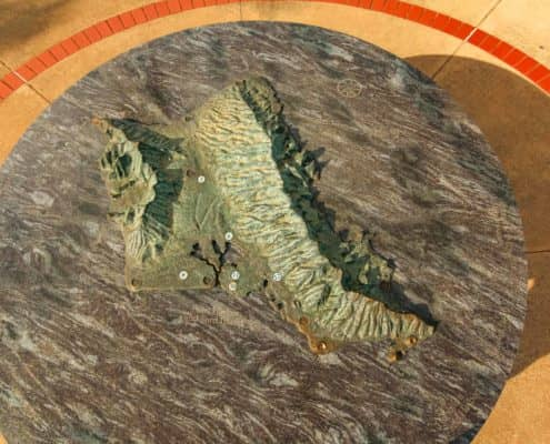Metal Cast Map of Oahu Island