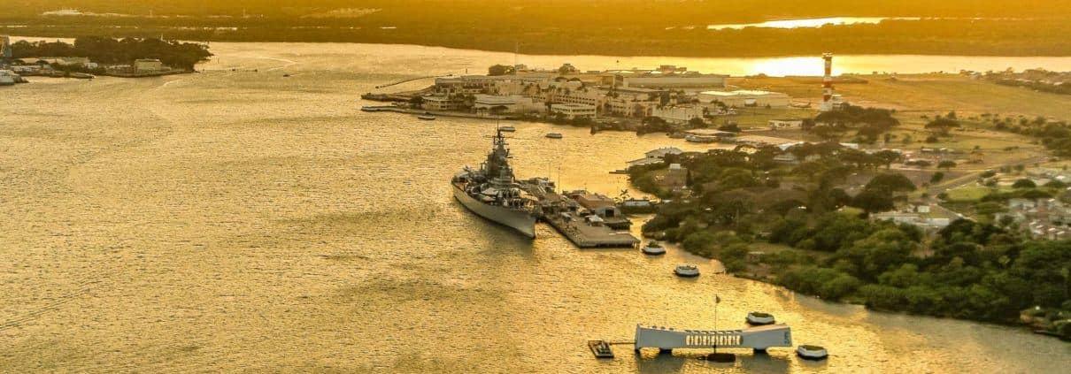 Arizona Memorial & Battleship Missouri Sunset Aerial