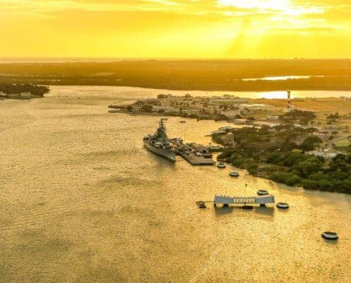 Arizona Memorial & Battleship Missouri Sunset Aerial