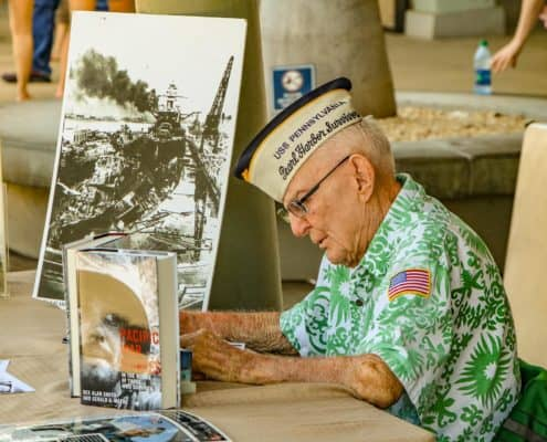 Veteran at Survivor's Desk