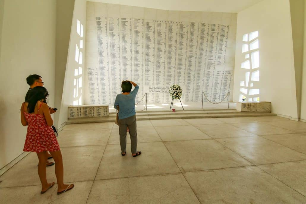 People Viewing Remembrance Wall at USS Arizona