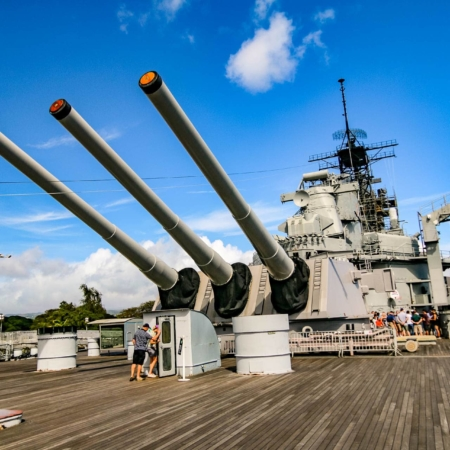USS Missouri Battleship Guns Tower Rear