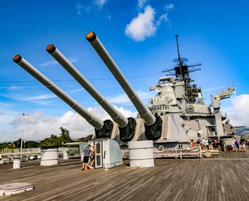USS Missouri Battleship Guns Tower Rear