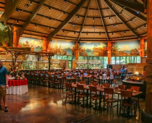 Island Buffet Dining Hall Seating and Wall Murals