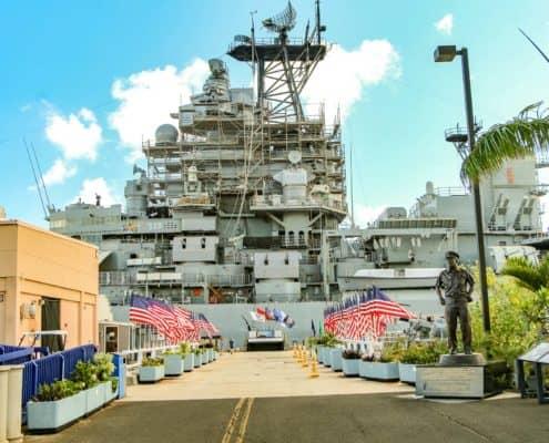 USS Missouri Entrance flags