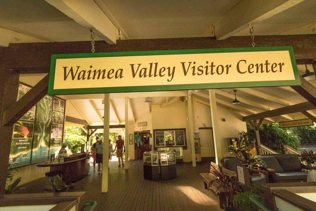Waimea Valley Visitor Center Sign