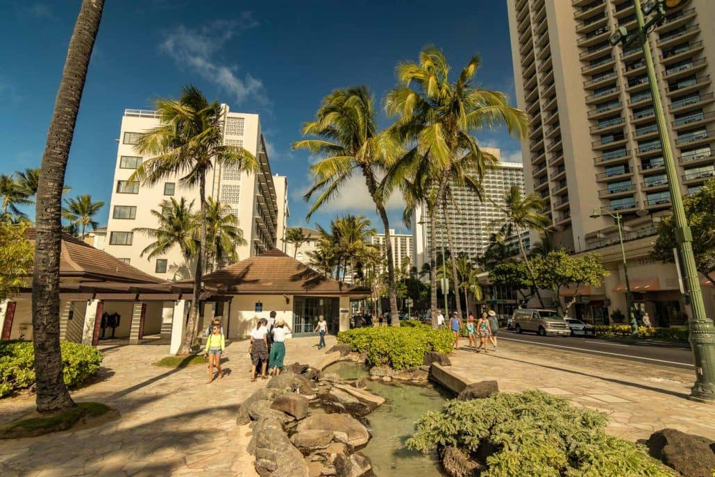 Waikiki Walkway with Water Pond Feature