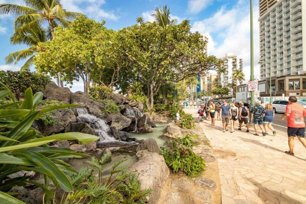 Waterfalls on Waikiki Sidewalk