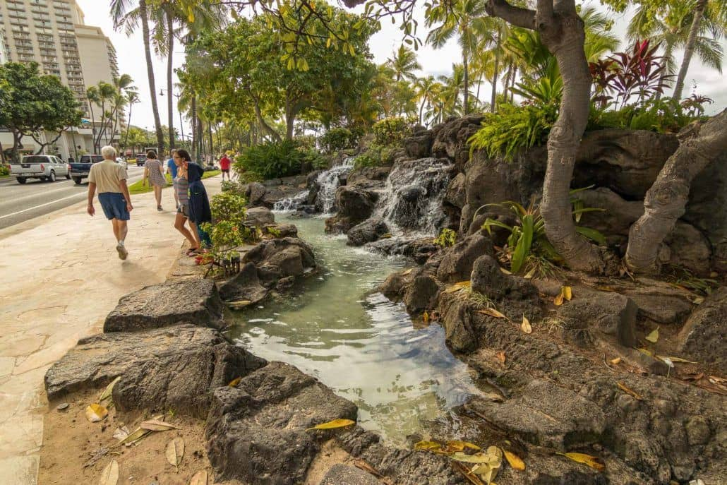 Waterfalls Along Sidewalk Waikiki