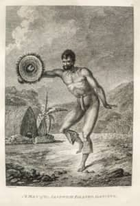 A Man of the Sandwich Islands Dancing after John Webber 1784 Honolulu Museum of Art