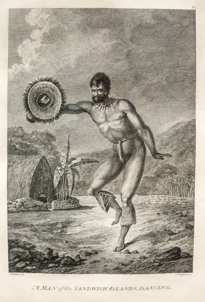 A Man of the Sandwich Islands Dancing after John Webber 1784 Honolulu Museum of Art