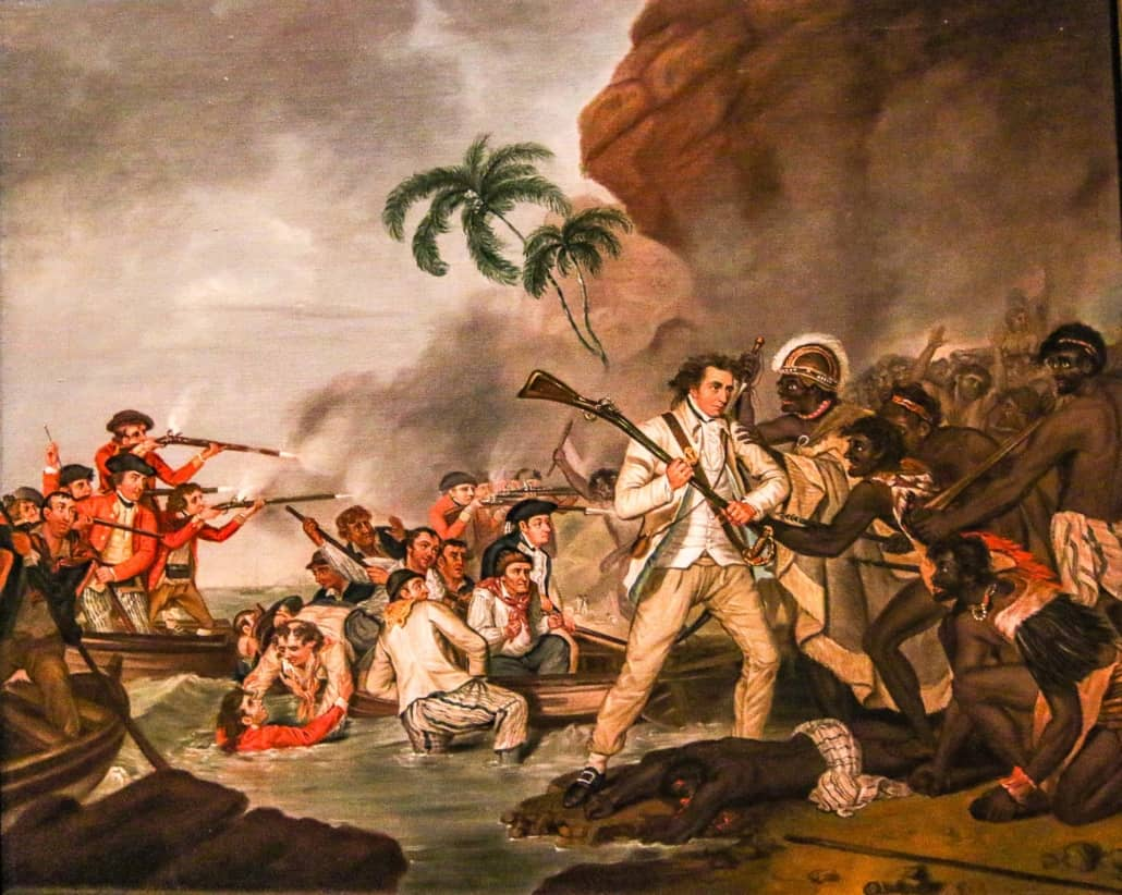 Captain Cook Fighting Kalaniopu'u Forces Painting at Bishop Museum