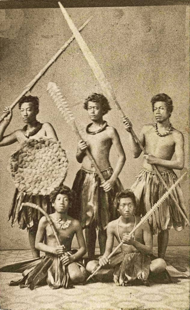 Group of Hawaiian Warriors Dressed in Native Costume, c. , carte de visite by Henry L. Chase