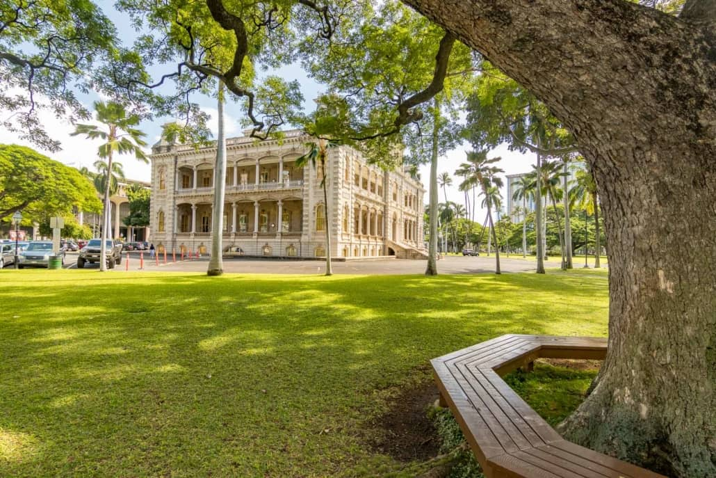 Iolani Palace Yard and Tree Bench