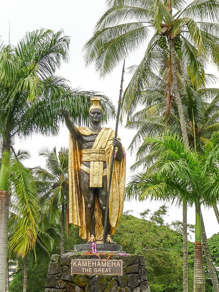Kamehameha I Statue and Trees Hilo
